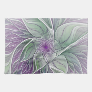 Flower Dream, Abstract Purple Green Fractal Art Tea Towel
