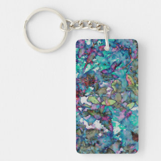 Flower Drop II Double-Sided Rectangular Acrylic Key Ring