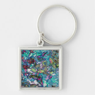Flower Drop II Silver-Colored Square Key Ring