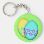 Flower Easter Egg Duo Basic Round Button Key Ring