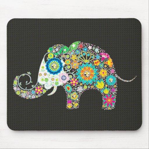 Flower Elephant - Diamond Studs Horizontal Mousepads