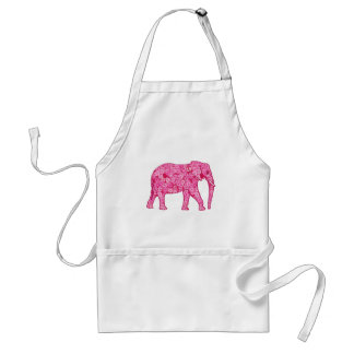 Flower elephant - fuchsia pink adult apron