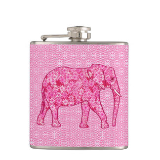 Flower elephant - fuchsia pink hip flask