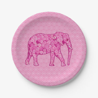 Flower elephant - fuchsia pink paper plate