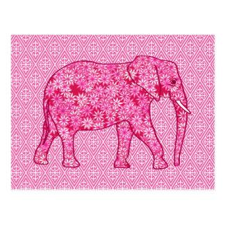 Flower elephant - fuchsia pink postcard