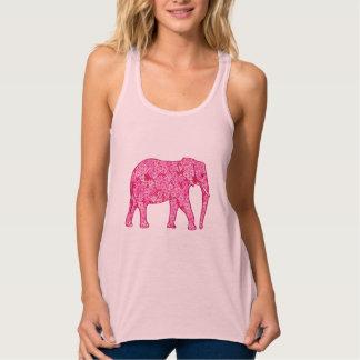 Flower elephant - fuchsia pink tank top