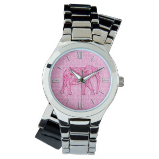 Flower elephant - fuchsia pink watch