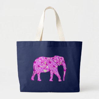 Flower elephant - orchid and magenta large tote bag