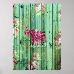 Flower Elephant Pink Sakura Green Striped Wood