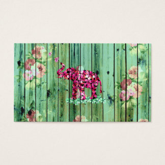 Flower Elephant Pink Sakura Green Striped Wood Business Card
