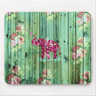 Flower Elephant Pink Sakura Green Striped Wood Mouse Pad