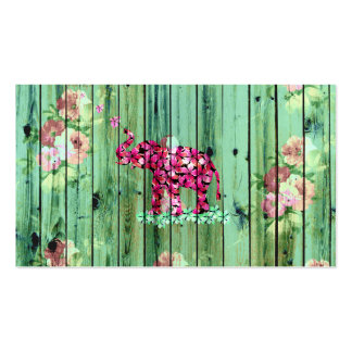 Flower Elephant Pink Sakura Green Striped Wood Pack Of Standard Business Cards
