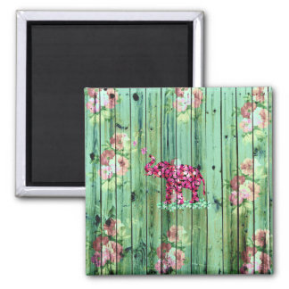 Flower Elephant Pink Sakura Green Striped Wood Square Magnet