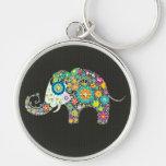 Flower Elephant With Diamond Studs Keychain