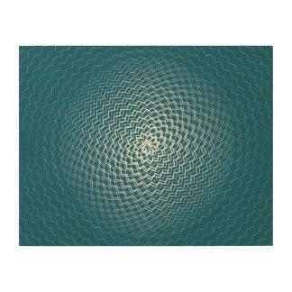 Flower Energy Pattern White blue Wood Print