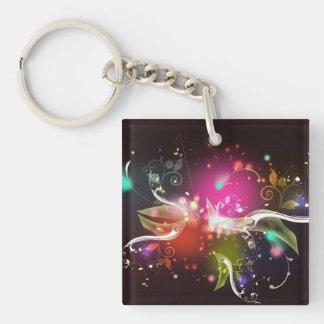 Flower Explosion Fractal Pattern Key Ring