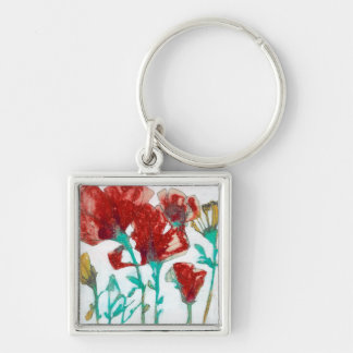 Flower Expression II Silver-Colored Square Key Ring