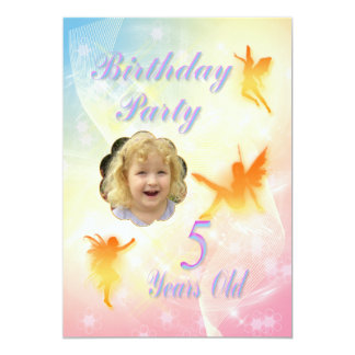Flower fairies 5th Birthday Party invitation