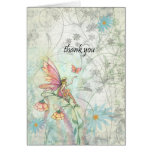 Flower Fairy and Butterfly Thank You Card