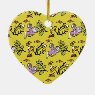 Flower Fairy and Dairy Pattern Christmas Ornament