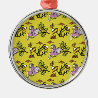 Flower Fairy and Dairy Pattern Silver-Colored Round Decoration
