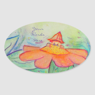 Flower Fairy Garden Art Custom Oval Stickers