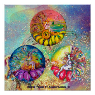 FLOWER FAIRY TALES IN BLUE GREEN GOLD SPARKLES POSTER
