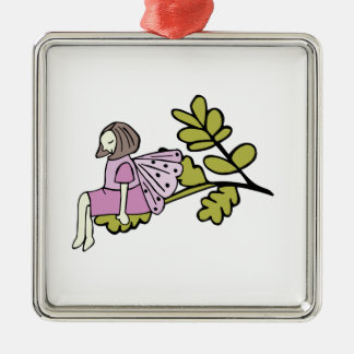 Flower Fairy with wings sits on leaves Christmas Ornament