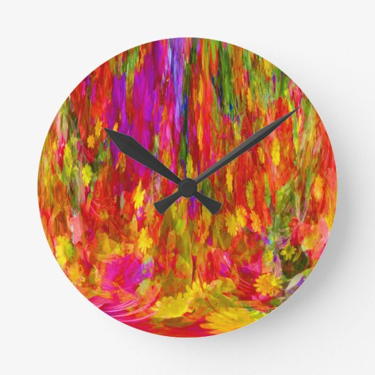 Flower Fal of bright flower coloursl Round Clock