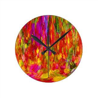 Flower Fal of bright flower coloursl Wall Clock