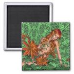 Flower fantasy ginger haired beauty magnets