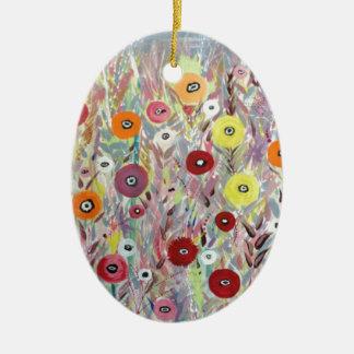 Flower Fields Art Ceramic Oval Decoration