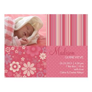 Flower Fizz Pink • Baby Announcement Postcards