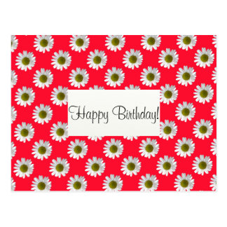 Flower floral design daisies on red pink postcard