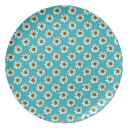 Flower floral print daisies on turquoise plate