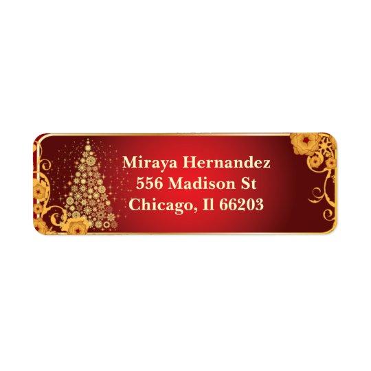 Flower Flourish & Christmas Tree Address Labels