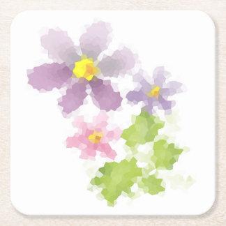 Flower flower mosaic 2 square paper coaster