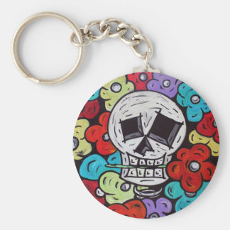 Flower For You - Dia De Los Muertos Basic Round Button Key Ring