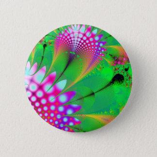 Flower fractal 6 cm round badge