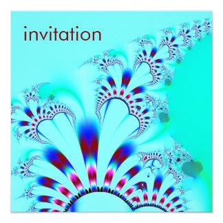Flower · Fractal Art · Turquoise 13 Cm X 13 Cm Square Invitation Card