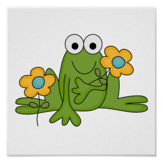 flower froggy frog poster