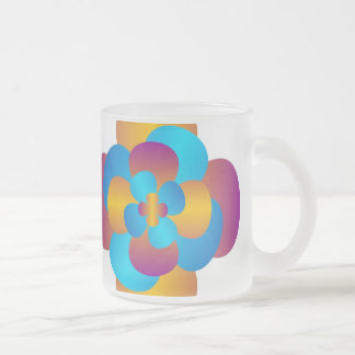 flower frosted glass mug