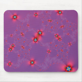 Flower Galaxy in Red on Violet Mousepad