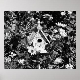 Flower Garden Bird House Black White Print