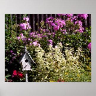 Flower Garden Bird House Pastel Painting Poster