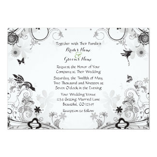 Flower Garden ~ Birds Black ~ White Wedding Invite