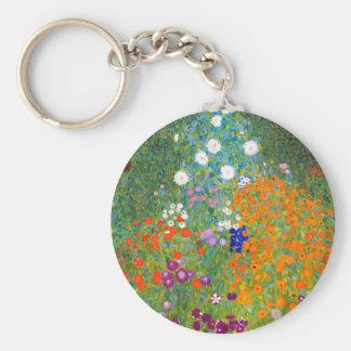 Flower Garden by Gustav Klimt Vintage Floral Keychains