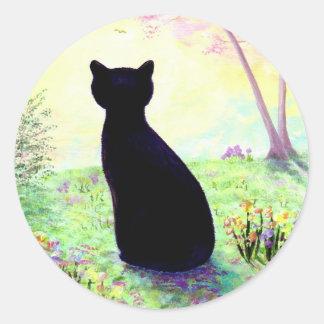 Flower Garden Floral Black Cat Creationarts Classic Round Sticker