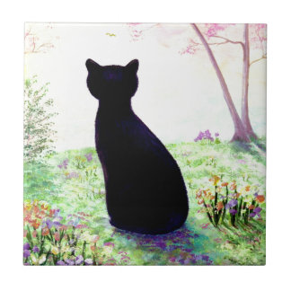 Flower Garden Floral Black Cat Creationarts Small Square Tile
