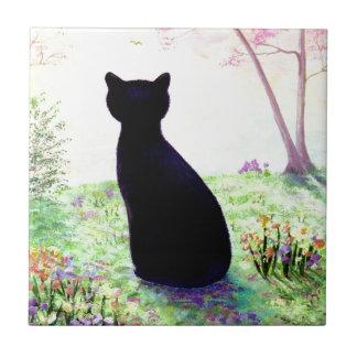 Flower Garden Floral Black Cat Creationarts Tile
